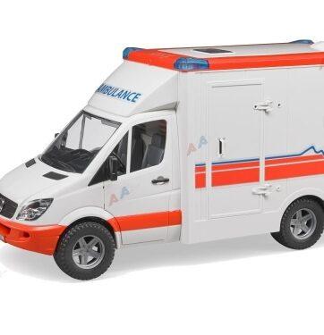 Zdjęcie Ambulans - Karetka MB Sprinter z figurką ratownika medycznego Bruder 02536 - producenta BRUDER