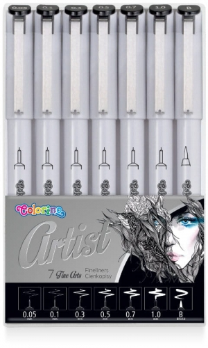 Zdjęcie Cienkopisy czarne Fineliners do szkicowania 7 końcówek - Artist Colorino - producenta PATIO