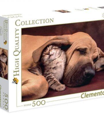 Zdjęcie Clementoni Puzzle 500el HQ Fototeca: Pies z kotem - producenta CLEMENTONI