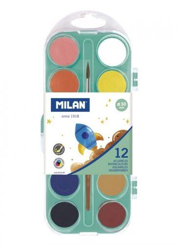 Zdjęcie Farby akwarelowe 12 kolorów 30mm matowe - Milan - producenta MILAN