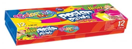 Zdjęcie Farby plakatowe 12 kolorów Neon - Colorino Kids - producenta PATIO