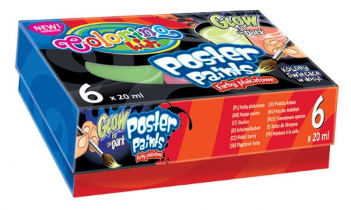 Zdjęcie Farby plakatowe świecące w ciemności 6 kolorów - Colorino Kids - producenta PATIO