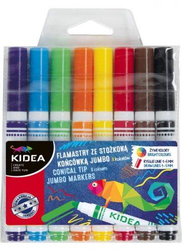 Zdjęcie Flamastry 8 kolorów Jumbo stożkowa końcówka - Kidea - producenta DERFORM