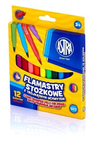 Zdjęcie Flamastry stożkowe 12 kolorów - Astra - producenta ASTRA