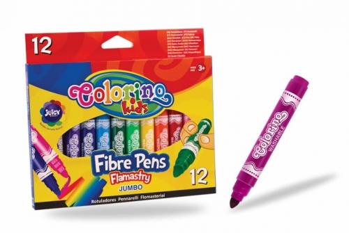 Zdjęcie Flamastry z okrągłą końcówką Jumbo 12 kolorów - Colorino Kids - producenta PATIO