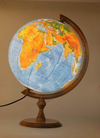 Zdjęcie Globus 320 polityczno-fizyczny podświetlany drewniana podstawa - producenta ZACHEM