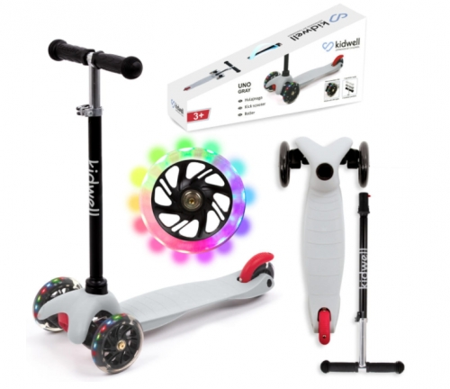 Zdjęcie Hulajnoga trójkołowa balansowa LED Szara - Kidwell Uno - producenta KIDWELL