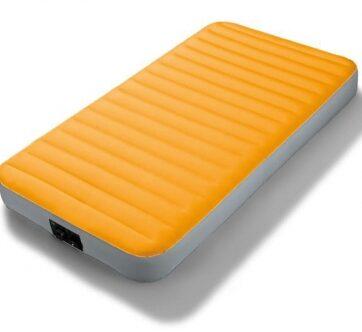 Zdjęcie Jednoosobowe łóżko dmuchane ekstra wytrzymałe z pompką na baterie 99x191x20cm - producenta INTEX