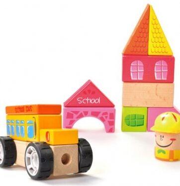 Zdjęcie Klocki drewniane układanka szkoła - producenta BRIMAREX