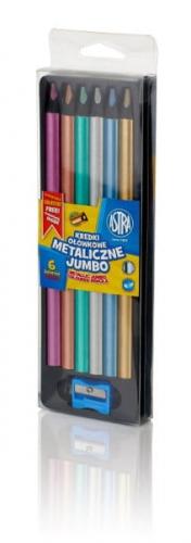 Zdjęcie Kredki ołówkowe Jumbo 6 kolorów metalik + temperówka - producenta ASTRA