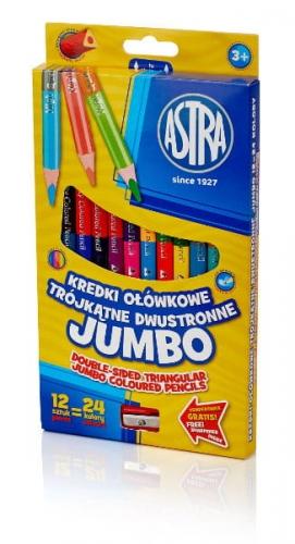 Zdjęcie Kredki ołówkowe Jumbo dwustronne 24 kolory - Astra - producenta ASTRA