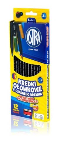 Zdjęcie Kredki ołówkowe czarne drewno 12 kolorów + temperówka - producenta ASTRA
