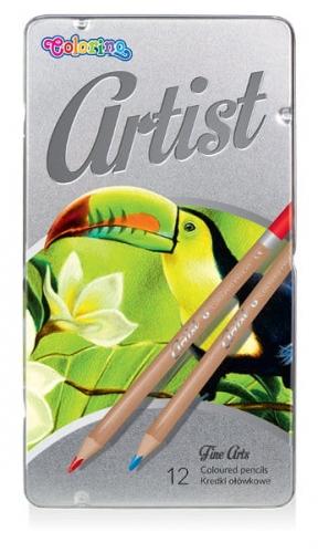 Zdjęcie Kredki ołówkowe okrągłe 12 kolorów metalowe pudełko - Colorino Kids - producenta PATIO