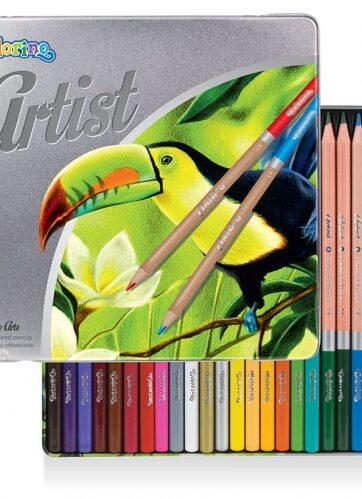 Zdjęcie Kredki ołówkowe okrągłe 24 kolory metalowe pudełko - Artist Colorino - producenta PATIO