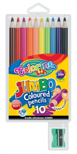 Zdjęcie Kredki ołówkowe okrągłe Jumbo 10 kolorów + temperówka - Colorino Kids - producenta PATIO