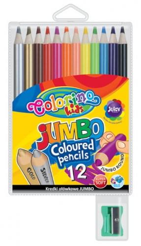 Zdjęcie Kredki ołówkowe okrągłe Jumbo 12 kolorów + temperówka - Colorino Kids - producenta PATIO