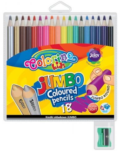 Zdjęcie Kredki ołówkowe okrągłe Jumbo 18 kolorów temperówka - Colorino Kids - producenta PATIO