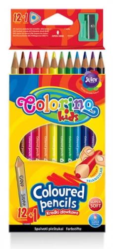 Zdjęcie Kredki ołówkowe trójkątne 12 kolorów + temperówka - Colorino Kids - producenta PATIO