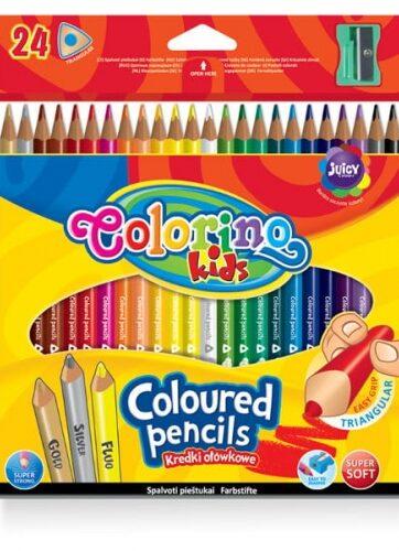 Zdjęcie Kredki ołówkowe trójkątne 24 kolory i temperówka - Colorino Kids - producenta PATIO