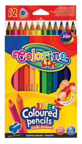 Zdjęcie Kredki ołówkowe trójkątne Jumbo 12 kolorów + temperówka - Colorino Kids - producenta PATIO