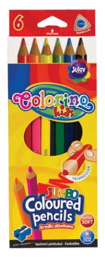 Zdjęcie Kredki ołówkowe trójkątne Jumbo 6 kolorów + temperówka - Colorino Kids - producenta PATIO