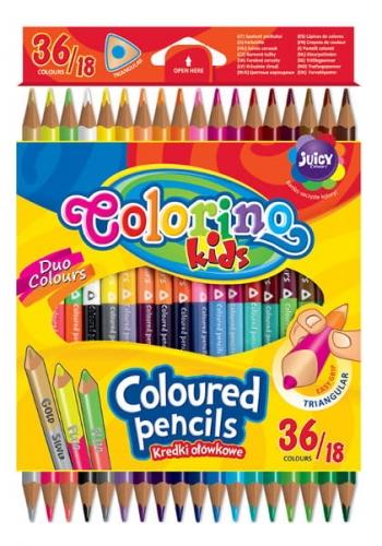 Zdjęcie Kredki ołówkowe trójkątne dwukolorowe 18 szt / 36 kolorów - Colorino Kids - producenta PATIO