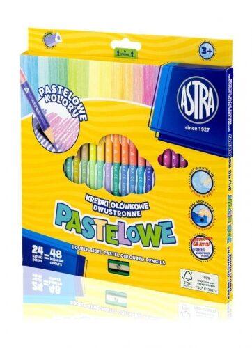 Zdjęcie Kredki ołówkowe trójkątne dwustronne pastelowe 24=48 ASTRA - producenta ASTRA