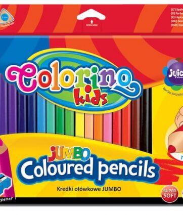 Zdjęcie Kredki ołówkowe trójkątne jumbo 18 kolorów + temperówka - Colorino Kids - producenta PATIO