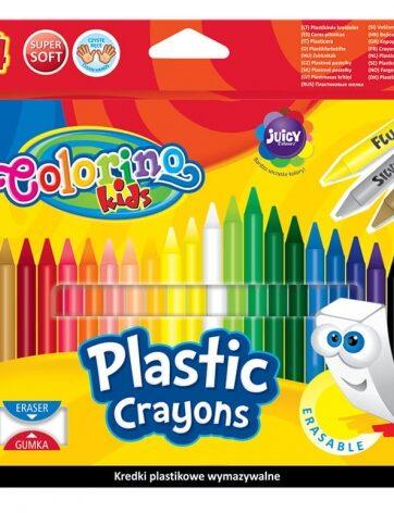 Zdjęcie Kredki świecowe okrągłe wymazywalne z gumką 24 kolory - Colorino Kids - producenta PATIO
