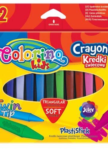 Zdjęcie Kredki świecowe trójkątne plastikowe 12 kolorów - Colorino Kids - producenta PATIO