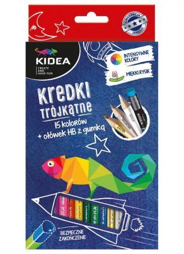 Zdjęcie Kredki trójkątne 15 kolorów z ołówkiem Kidea - producenta DERFORM