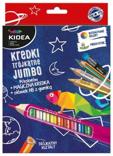 Zdjęcie Kredki trójkątne grube 14 kolorów z ołówkiem i kredką Magic Kidea - producenta DERFORM