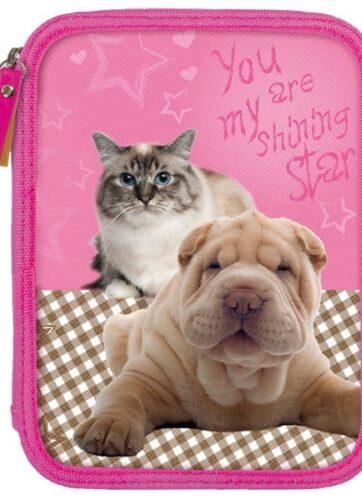 Zdjęcie Piórnik dla dziewczynki dwukomorowy Kot i Pies - SA10 DERFORM - producenta DERFORM