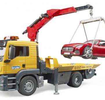 Zdjęcie Pomoc drogowa MAN TSG z czerwonym autem Roadster i modułem świetlono-dźwiękowym Bruder 03750 - producenta BRUDER