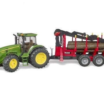 Zdjęcie Traktor John Deere 7930 z przyczepą i dźwigiem do bali drewnianych (4szt) Bruder 03054 - producenta BRUDER