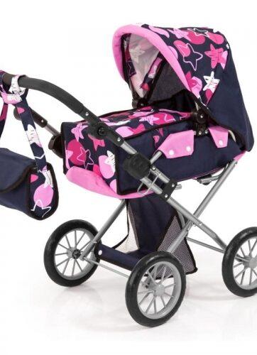 Zdjęcie Wózek głęboki dla lalki City Star granatowo-różowy z torbą - producenta BAYER