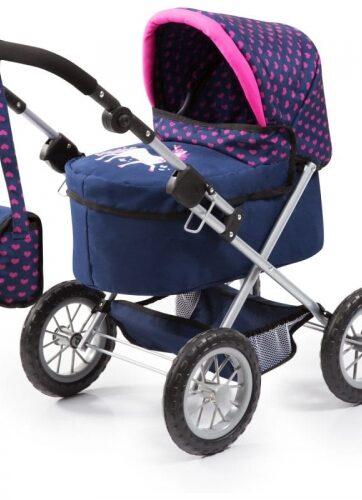 Zdjęcie Wózek głęboki dla lalki Trendy granatowy z torbą - producenta BAYER