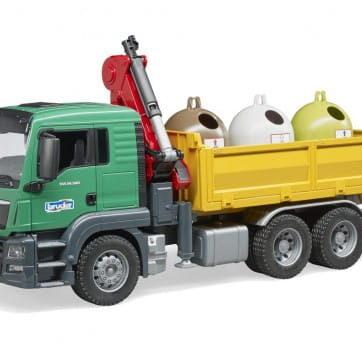 Zdjęcie Wywrotka MAN TGS z żurawiem i kontenerami do segregacji odpadów Bruder 03753 - producenta BRUDER