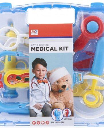 Zdjęcie Zabawkowy zestaw lekarski dla dzieci na baterie w walizce z rączką 9 elementów - producenta EURO-TRADE