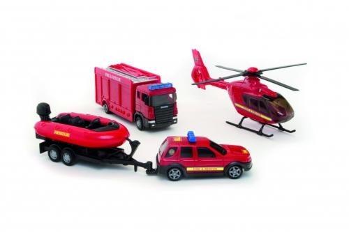Zdjęcie Zestaw Pojazdów ratunkowych - straż pożarna + helikopter + auto z pontonem - producenta TEAMA