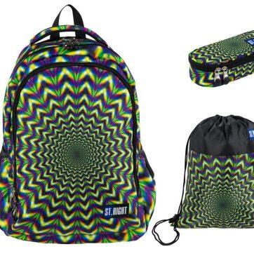 Zdjęcie Zestaw szkolny 3-elementowy Plecak + piórnik saszetka + worek na obuwie Hipnoza St.Right - producenta MAJEWSKI