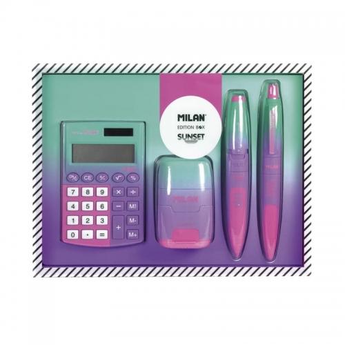 Zdjęcie Zestaw upominkowy z kalkulatorem Sunset zielono-fioletowy - producenta MILAN